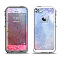 The Pink to Blue Faded Color Floral Apple iPhone 5-5s LifeProof Fre Case Skin Set