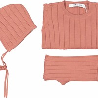 Coco Blanc Baby Girls' Dusty Pink Ribbed 3 Piece Set