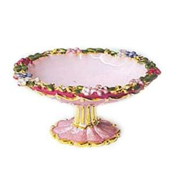 Enameled Pink Fruit Bowl Ring Dish Figurine