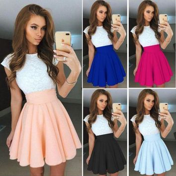 DCCKIHN Chu Even 2017 Summer Dress Elegant Women Vestidos O-Neck Office Dress Short Sleeve Plus Size Bodycon Slim Party Lace Dresses