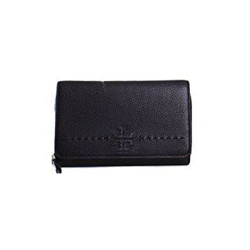 Tory Burch McGraw Flat Wallet Leather Crossbody in Black