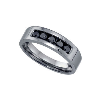 Sterling Silver Black Colored Round Diamond Mens Masculine Wedding Anniversary Band 5/8 Cttw 81566