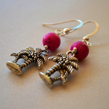 Palm Tree Tropical Dangle Hot Pink Howlite earrings,silver