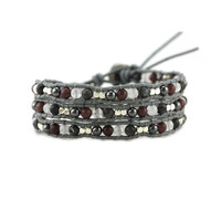 Marsala Hematite Mix on Grey Leather Wrap Bracelet