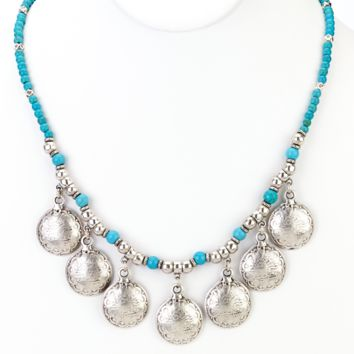 Turkish Coins Beaded Turquoise Necklace