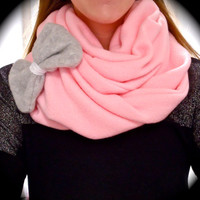 Grey Bow Pink Fleece Infinity