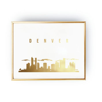 Denver Print, Denver Skyline, Denver Cityscape, Skyline Art, Real Gold Foil Print,  Home Decor, USA Print, Colorado Wall Art, 5x7 print