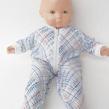 "Bitty Baby Clothes, fits 15"" Boy Doll, Blue Stripe Pajamas Sleeper, HANDMADE New"