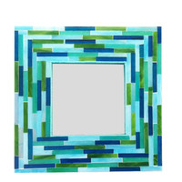 Stained Glass Mirror in Caribbean Blues, Aquas, Greens // Mosaic Mirror // Accent Mirror // Wall Decor