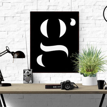 G Letter Printable Scandinavian Poster Initial Lowercase G Nursery Monogram Custom Letter Custom Quote Printable Art Affiche Scandinave