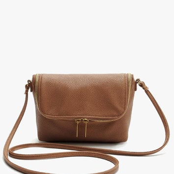 Brown Faux Leather Soft Mini Crossbody Bag