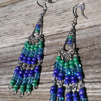 Colorful Chandelier Earrings - Ladies High Fashion Earrings - Tribal Earrings - Rainbow Cool Colors Jewelry