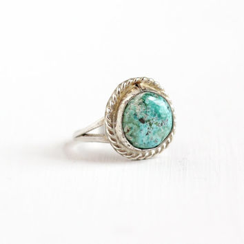 Vintage Sterling Silver Turquoise Blue Stone Ring - Size 5 1/4 Retro Southwestern Native American Style Twisted Double Split Jewelry