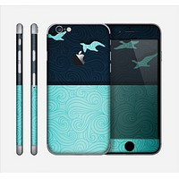 The Abstract Swirled Two Toned Green with Birds Skin for the Apple iPhone 6