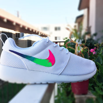Custom Nike Roshe Run sneakers for women, All white, Rainbow gradient design, Pink and Lime green, cute shoes, love, stylish sneakers
