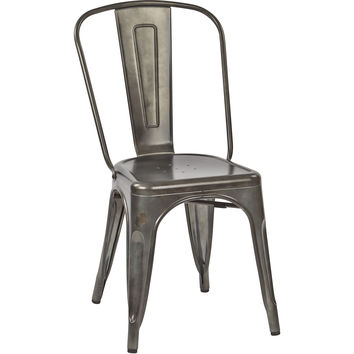 OSP Bristow Metal Stackable Chairs, Matte Galvanized Finish (Set of 2)