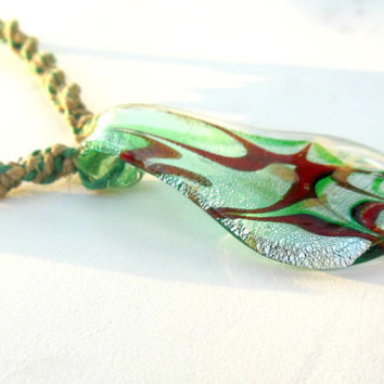 Hemp Necklace Glass Pendant Green Natural Brown CIJ SALE