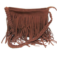 Tassel Brown Cross Body Bag Tote Handbag