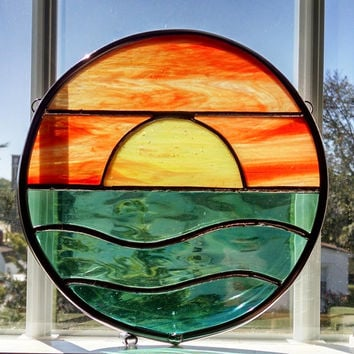 Sunset Stained Glass Window Panel - Round Suncatcher - Ocean Sunset - Seascape - Beach Decor - Coastal Decor - Nautical Decor - Orange