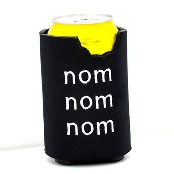 Nom Nom Nom Bite Black Neoprene Can Koozie by YellowBugBoutique
