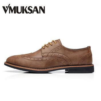 VMUKSAN Brand Men's Shoes High Quality Italian Men Dress Shoes Brown Lace Up Office Men Brogue Shoes