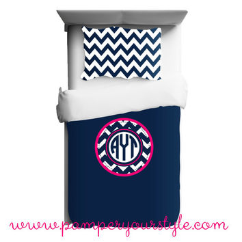College Custom Bedding - Dorm Bedding - Monogrammed Chevron Bedding - Navy and Hot Pink Personalized Bedding