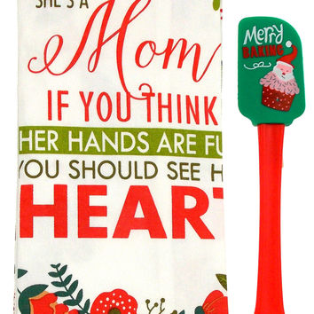 Kitchen Towels She's A Mom 15x25 Merry Baking Santa Cupcake Spatula Set 3 Cotton