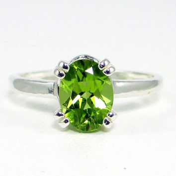Peridot Oval Ring Sterling Silver, August Birthstone Ring, 925 Peridot Ring, Oval Peridot Ring, Sterling Silver Ring