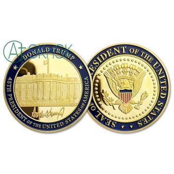!!RARE!! Great Detail 45th Seal of the President of The United States Donald Trump Gold Plated Coin