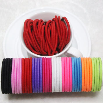 TS 2016 20pcs/lot Black and Candy Colored Hair Holders Elasticity Rubber Hair Band Tie Hair for Girl Women / Hair Accessories