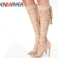 ENMAYER Plus Size 34-43 New Sexy Knee High Gladiator Sandals High Heels Lace Up Suede Summer Boots Thin Heels Party Dance Shoes