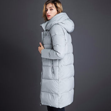 2016 long section of thick down jacket women XL loose, casual hooded down jacket warm coat high quality