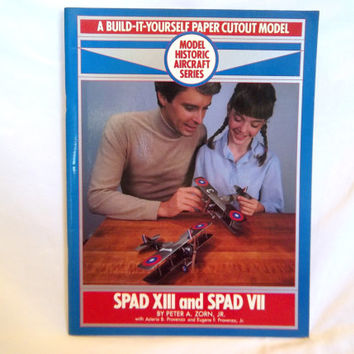 Vintage Paper Model Book Historic Aircraft Model Airplane Spad XIII and Spad VII