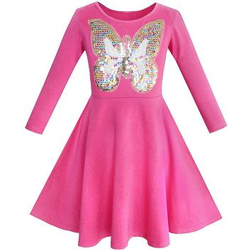 Girls Dress Owl Ice Cream Butterfly Sequin Everyday Dress Cotton 2017 Summer Princess Wedding Party Dresses Clothes Size 5-12