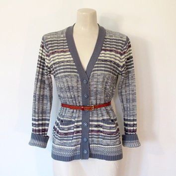 Vintage 1970s Blue & White Striped / Space Dye Knit Cardigan Sweater