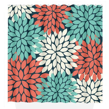 Flower SHOWER CURTAIN, Flower Burst Petals, Coral Navy Aqua, Girl MONOGRAM Personalized, Floral Bathroom Decor, Beach Towel, Plush Bath Mat