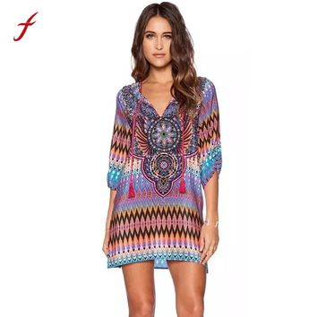 Feitong 2017 Women Summer Dress Boho Vintage Baroque Hippie Ethnic Totem Geometric Print Contrast Tie Neck Shift Dress vestidos