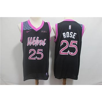 Minnesota Timberwolves #25 Derrick Rose Nike Purple 2018/19 Swingman Jersey ¨C City Edition