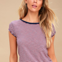 Clare Red and Navy Blue Striped Tee