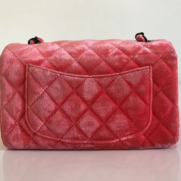 CHANEL Velvet Quilted Classic Mini Rectangular Flap Bag Coral