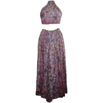 Vintage 1960s Donald Brooks Psychedelic Flower Power Print Halter Palazzo Pants