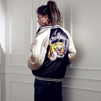 Korea Women Baseball Jacket Tiger Head Embroidery Loose Female Zipper Bomber Jacket on Aliexpress.com | Alibaba Group