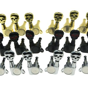 3 Left 3 Right Sealed Skull Button Guitar Tuners 3L3R Tuning Keys 3 Colors