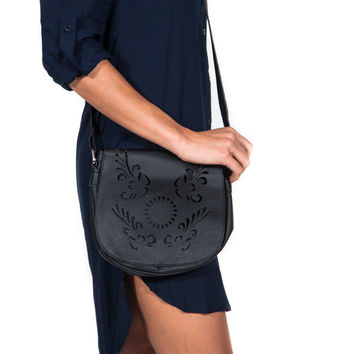 Black Laser Cut Cross-body