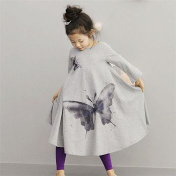 Girls Butterfly Print Dress Toddler Baby Princess Kids Long Sleeve Party Clothes