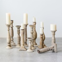Found Wood & Metal Candle Holders