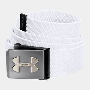 Under Armour UA Webbed White Mens Golf Belt - Adjustable One Size Fits All