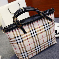 Plaid Buckle Handle PU Leather Tote Handbag