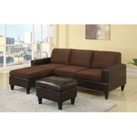 Fier Sectional Sofa Upholstered in Faux Leather & Micro Fiber - Walmart.com