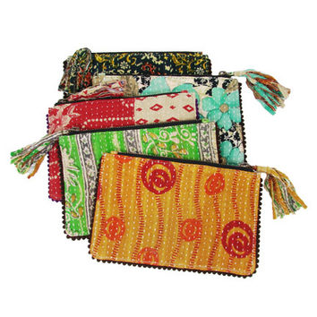 Kantha Tasseled Zip Pouch - assorted patterns and colors